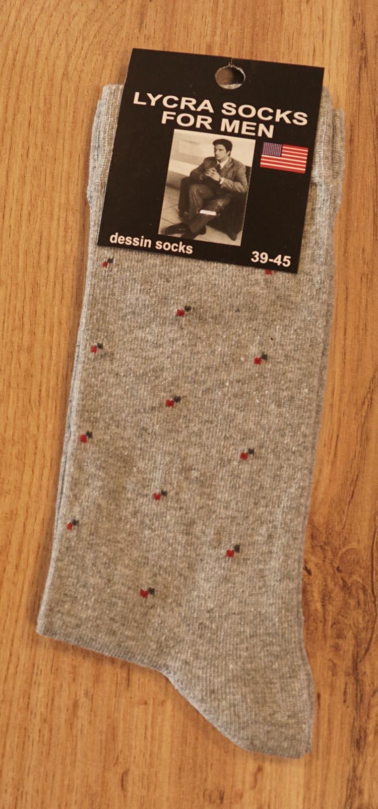 """1 paar heren sokken  """" Figuur """"  licht grijs"""