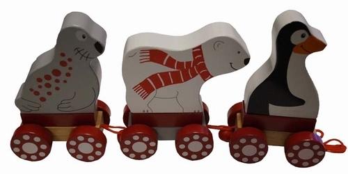 """Houten dieren trein """" 1 Pinquin, 1 IJsbeer, 1 Zeehond """""""