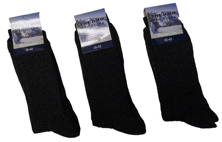 "Noorse / thermo sokken  "" Donker grijs ""  3 paar"