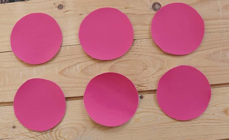 """Ronde onderzetters """" Roze """" set 6 stuks"""