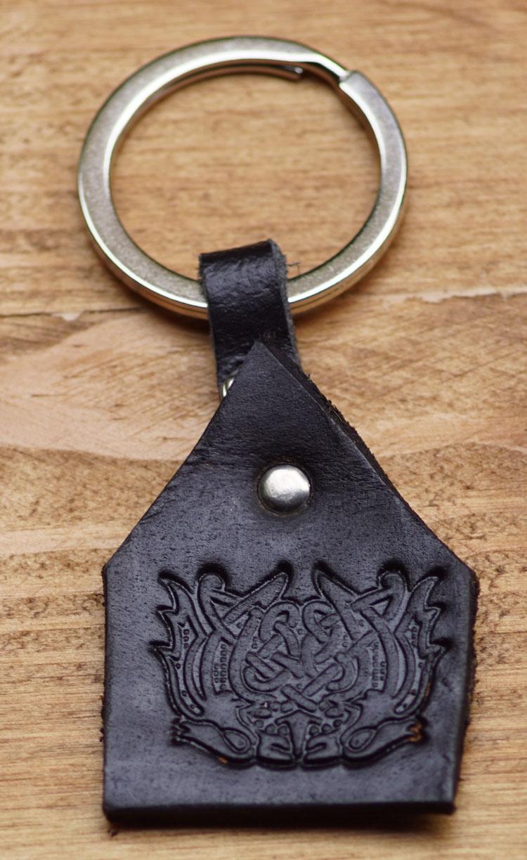"""Sleutelhanger van leer """" Keltisch symbool """" Zwart"""