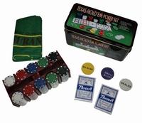Pokerspel in metalen kist